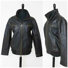 Men's Guess Faux Leather Bomber Jacket M Black Brown