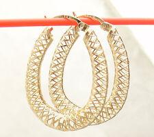 """1 1/4"""" Technibond Filigree Drop Hoop Earrings 14K Yellow Gold Clad Silver"""