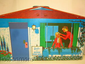 VINTAGE BARBIE & SKIPPER DELUXE HOUSE PLAY SET CARRY CASE SEARS EXCLUSIVE 1965