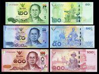Thailand SET 3 Pcs 20 , 50 , 100 Baht 2012-2016 King Rama UNC