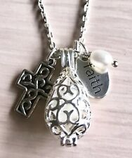 Christian Cross Faith Freshwater Pearl Silver Locket Diffuser Necklace Chain