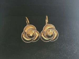 18k 2 Tone Gold Rose Twisted Waves Flower Earrings  Made in Italy