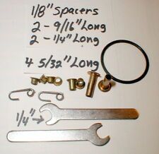 """2 Axle Nut Wrenchs & (8) 1/8"""" ID Axle Spacers Kit Slot Car Racing Original NOS"""