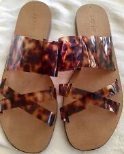 "J.Crew ""Bali"" Tortoise Shell Slides Sandals, sz 10 Translucent Plastic Straps"