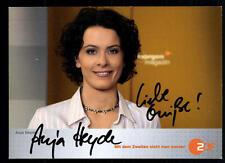 Anja Heyde ZDF AUTOGRAFO MAPPA ORIGINALE FIRMATO # BC 35771