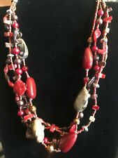 Silver Tone Multi Strand Multi Color Red Tones Beaded Necklace