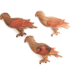 SET OF 3 FALCON, BIRDS OF PREY FRIDGE MAGNETS. HANDMADE IN WOOD FAIR TRADE 8x4cm