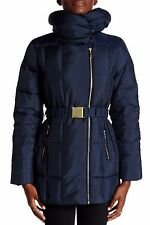 Cole Haan Quilted Oversize Collar Down Navy Women's Coat Size Medium