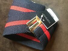 TOPSHOP WOMEN NAVY BLUE RED STRIPE ELASTIC SKINNY WAIST BELT SIZE S#03