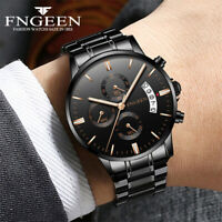 Luxury Stainless Steel Men's Military Army Quartz Analog Wrist Watch Waterproof