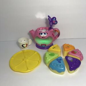 Leap Frog Musical Rainbow Tea Party Lights Sounds Teapot w 6 Slice Cake Play Toy