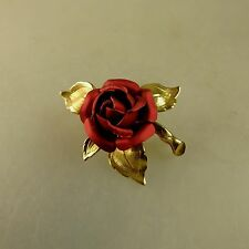 Schwäbisch Gmünd: Brosche rote Rose Double um 1965 (40886)