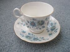VINTAGE BONE CHINA QUEEN ANNE THUNDER BAY CANADA BLUE FLORAL CUP AND SAUCER