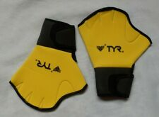 Tyr S Neoprene Gloves Swim Training Webbed Paddle Small Yellow Resistance Velcro