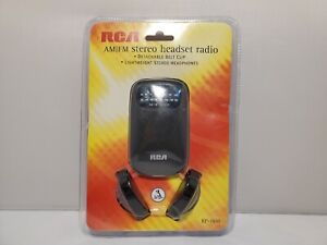 RCA AM / FM Radio Stereo Belt Clip Player RP1610 w/ Headphones New Sealed