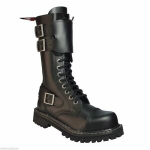 Angry Itch 14 Hole Gothic Punk Black Buckle Leather Ranger Boots Steel Toe Zip