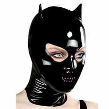 Sexy Black Latex Mask Rubber with Small Ear Gummi 0.4mm for Catsuit Wear