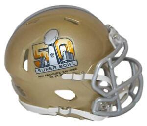 Super Bowl 50 Gold Riddell Mini Helmet New In Box 15852