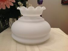 Vintage Hurricane Parlor Student Lamp Shade Frosted White with Ruffled Top