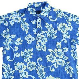 Vintage Hawaiian Flavor Blue Yellow Floral Button Up Casual Large Aloha Shirt