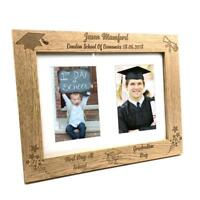 Personalised First Day At School & Graduation Double Wooden Photo Frame C28-A4-2