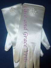 Communion Gloves  - White Satin with Pearls