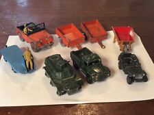 Vintage Dinky Toys Land Rover BEV Truck Trailers Wheelbarrow Tank Jeep