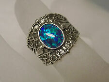 1ct blue green opal wide band antique 925 sterling silver ring size 6.5 USA