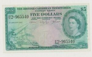 BRITISH CARIBBEAN P 9  QUEEN ELISABETH II   5 DOLLARS  1963  MAP  VF
