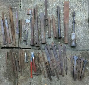 Old Drill bits. Chisels. Files. Hammering tools Vintage Tools. Rusty. No reserve