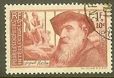"FRANCE TIMBRE STAMP N° 384 "" AUGUSTE RODIN 1F + 10c "" OBLITERE TB"