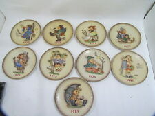Lot of 9 Goebel Hummel Annual Plates 1972 Through 1981 Missing The 1978 Plate