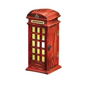 ART & ARTIFACT British Phone Box Accent Lamp, Red Phone Booth Table Lamp, 10 in