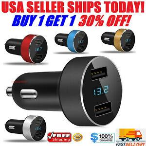 12V Dual 3.1A USB Car Charger 2 Port Adapter LED Cigarette Socket Fast Charging