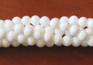 50pcs 6mm Round Gemstone Beads - Malaysian Jade - Opaque White