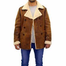 Mens Brown Tan Real Italian Wax Leather Classic Casual Long ZIPPER Bomber Jacket 3xl