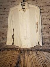 NWT Ermenegildo Zegna Men's Shirt Size Medium White Bamboo Button Front Pleated