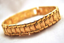 HANDSOME MENS 8.5 IN. GOLD ARROWS HEALING MAGNETIC LINK BRACELET: FOR PAIN!