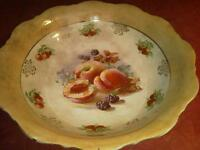 Antique serving bowl Ironstone peaches fruit and berries Gold trim USA