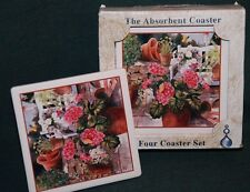 AbsorbaStone COASTERS: 4 pc Set w/Geraniums/Gardening - Nice FLORAL