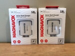 Lot of 2 Magnavox MC3325 Quick Wall Charger 3.0 USB 18w 3 Amps, White