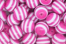 Hot Pink Striped 20mm Chunky Acrylic Beads 10 ct for Bubblegum Necklace