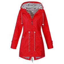 Plus Size Womens Waterproof Jacket Raincoat Hooded Rain Coats Forest Coat UK