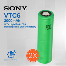 2x New Sony 18650 VTC6 Lithium Battery 3000mAh 3.7V High Drain 30A Rechargeable