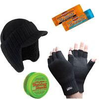 NEW WINTER GLOVES BOBBY HAT THERMAL THINSULATE FINGERLESS WARM WOLLY WORK