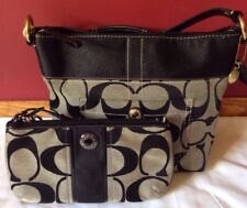Coach 11957 Gray Black Signature Stripe Lagacy  Bag Purse With Matching Wristlet