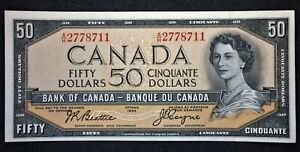 Canada 1954 $50 Fifty Dollar Banknote, Beattie/Coyne Modified, Very Near UNC