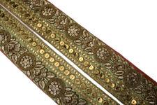 "Vintage Border Embroidered Lace Sari Trim 3"" Wide Woven Antique Ribbon ST2580"
