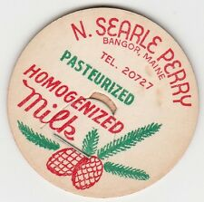 MILK BOTTLE CAP. N. SEARLE PERRY. BANGOR, ME. DAIRY. REPRODUCTION