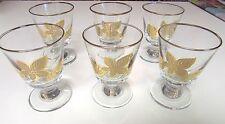 """6 VINTAGE LIBBEY 4 1/4"""" CORDIAL STEM GLASSES GOLD GILT OAK ELM MAPLE LEAF DECOR"""